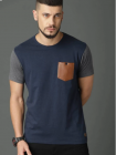Blend Self Pattern with Brown Pocket Cotton Round Neck Half Sleeves Men's T-Shirt (Blue/Grey)