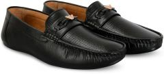Mens Stylish Solid Synthetic Leather Casual Loafers Shoes For Party & Casual Wear (Black)
