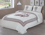 Attractive King Size Twill Cotton Peacock Printed Bedsheet With 2 Pillow Covers
