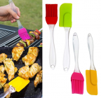 Krivish Multicolor Small Silicone Baking, Glazing, Decoration, Basting Spatula & Oil Cooking Brush (4 Pcs)