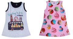 Hydes Buy One Get One Offer Printed Girls Kids Nighty Nightdress Super Soft Nightwear Cotton Hosiery One Piece Buy 1 Get 1 Age 2 3  4 Girls