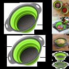 Krivish Green Foldable Silicone Fruit & Vegetables Colander Washing Bowl Draining Strainer Collapsible Basket (2 Pcs)
