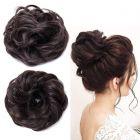 Akashkrishna Scrunchie Scrunchy Bun Up Do Hair piece Hair Ribbon Ponytail Extensions Wavy Curly or Messy jet black 1B
