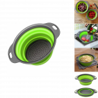 Krivish Green Foldable Silicone Fruit & Vegetables Colander Washing Bowl Draining Strainer Collapsible Basket (1 Pc)