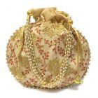Women's Silk Potli Handicrafts and Jewellery Potli | Wristlets Ethnic Potli For Women's | Designer Rajasthani Style Royal Clutch Silk Batwa Pouch Bag | Zari Work Potli
