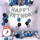 Boxerdoll Solid Happy Birthday Letter Foil Balloon Set of Silver + Pack of 30 HD Metallic Balloons Letter Balloon (Pack of 1)