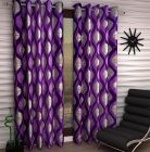 FasHome Polyester Fabric Curtain Eyelet Fitting Printed Style for Door 150cm x 115cm (Black) | (Pack of 1)