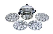 Aquiriosindia Kitchen Essentials Stainless Steel Jumbo Idli Cooker with 4 Plate Idli & 48 Blocks Idli