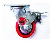 Bhs Heavy Duty Black Core Pu Plastic Swivel Rotation 360 Castor Wheels With Brake 125 X 50 (Package Contents: 1Pcs Single Wheel Puff Castor Wheels)