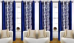 Curtains of Printed Style Polyester Fabric Eyelet Fitting for Long Windows Length of 7Feet (Blue) | (Pack of 4)