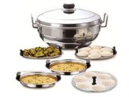 Aquiriosindia Kitchen Essentials Stainless Steel Sandwich Bottom Multi Kadai/Idli Cooker
