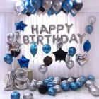 Boxerdoll Solid Birthday Decorations of Silver Happy Birthday Balloons Banners & Blue-Black Silver Metallic Balloons for Birthday Party Supplies Letter Balloon (Pack of 31)