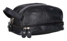 Splash USA designer Genuine Leather Travel Kit Bag-Black