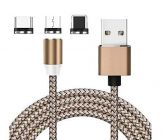 Techwire 3 in 1 Multi Magnetic Cord Nylon Braided Cable with Fast Charging Option at Same time for Micro USB, iOS & Type C Devices (Gold)