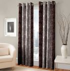 Eyelet Fitting Curtains of Printed Style Polyester Fabric for Windows Length of (Brown) | (Pack of 2)