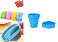 Krivish Multicolor 170 ML Silicone Foldable Pocket Drinking Collapsible Cup With Lid - (1 Pc)