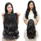 Akashkrishna 5 Clips ¾ Head 1 Piece Hair Extensions For Women And Hair Extensions For Girls To Increase Instant Length And Volume (Black-curly) for shadi and party long hairs
