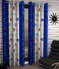 Polyester Fabric Curtains of Printed Style Eyelet Fitting for Windows Length of (Blue & Beige) | (Pack of 2)
