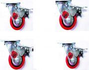 Bhs Heavy Duty Black Core Pu Plastic Swivel Rotation 360 X Castor Wheels With Brake 125 X 50 (Package Contents: Set Of 4 Single Wheel Puff Castor)