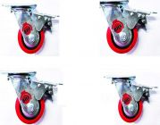 Bhs Heavy Duty Black Core Pu Plastic Swivel Rotation 360 Castor Wheels With Brake 100 X 50 (Package Contents: Set Of 4 Single Wheel Puff Castor)