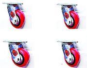 Bhs Heavy Duty Black Core Pu Plastic Swivel Rotation 360 Castor Wheels 100 50 (Package Contents: Set Of 4 Single Wheel Puff Castor)
