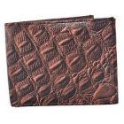 ASPENLEATHER Bi-Fold Brown Embossed Leather Wallet For Men With Side Flap