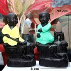 Handcrafted Set of 2 Karate Little Baby Monk Buddha Smoke Backflow Cone Incense Holder with 10 Incense Cones Decorative Showpiece