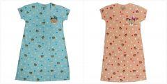 Buy 1 Get 1 Babydoll Printed Girls Kids Nighty Nightdress Super Soft Nightwear Cotton Hosiery One Piece Nighty for Girls