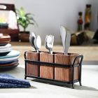 Wood and Wrought Iron Spoon Holder Cuttlery Holder Multipurpose Stand Table Organizer with 3 Wooden jar