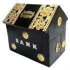 Handicraft Sheesham Wooden Hut Shaped Piggy Bank|Money Bank Coin Bank (Brown)
