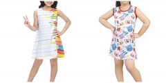 Hydes Buy One Get One Offer Printed Girls Kids Nighty Nightdress Super Soft Nightwear Cotton Hosiery