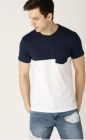 Three Multicolored Blocked with Side Pocket Cotton Round Neck Tees Half Sleeves Men's T-Shirt