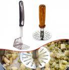 Krivish Combo Steel and Wooden Pav Bhaji Masher Potato and Vegetables Crusher (Multicolor) - (2 Pcs)