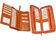 Kashan's Leather Card Holder/Cheque Book Holder/Card Holder/Travel Wallet/Credit Card Holder for Men and Women - Orange