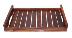 Wooden Hand Crafted Strip Design Fruit Serving Tray (Materail:Wood)
