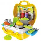 Ethnic Forest Luxury Kitchen Set Cooking Toy with Briefcase and Accessories (Yellow)