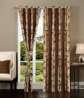 Polyester Fabric Curtains of Printed Style Eyelet Fitting Best for Windows Length (Multicolor) | (Pack of 2)