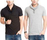 Fashion Gallery Men's Cotton High Neck Tshirt|Tshirt for Men|Half Sleeve Tshirt Combo|Pack of 2