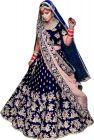 JANKISILKMILL Women's Silk Semi-Stitched Lehenga Choli - Navy Blue