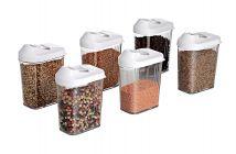 Plastic Easy Flow Storage Jar with Lid (750ml, Set of 6)