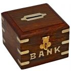 Wooden Money Bank|Piggy Bank|Coin Box Handmade with Brass Inly Work Square Hinged lid with fold-down clasp that can accommodate a small lock