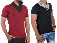 Fashion Gallery Men's Cotton Tshirt|V-Neck Half Sleeve Tshirt|Combo Pack of 2
