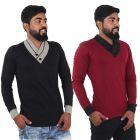 Fashion Gallery Men's Cotton Tshirt|V-Neck Full Sleeve Tshirt|Combo Pack of 2