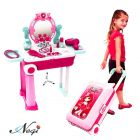 Negi 2 in 1 Trolley Case Beauty Set for Girls,Makeup Tool Sets Pretend Play Workbench Playset Educational Toy for Kids(Trolley Case Beauty Set)