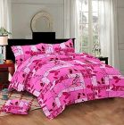 Hydes 100% Pure Cotton Bedsheet with 2 Pillow Covers - King Size 7.5 Feet by 9 Feet 186 TC for Double Bed Sheet - Pink