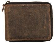 ASPENLEATHER Round Zipper RFID BLOCKER Leather Wallet For Men