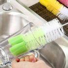 Sprung Tip Bottle Large Bottle Cleaning Brush for Glass, Plastic,Water, Long Narrow Neck SpotBottle Cleaner Tool Nylon Brush (Pack Of 4)