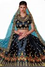 BRAND JUNCTION Women's Silk Semi-Stitched Lehenga Choli- Dark Blue