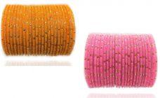PRIYA KANGAN Beautiful Velvet Fabric & Glass Bangle Set For Women & Girls Pink & Haldi Color (Pack of 48)