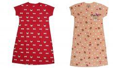 Buy 1 Get 1 Babydoll Printed Girls Kids Nightdress Super Soft Nightwear Cotton Hosiery One Piece (Red & Peach)